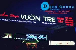 Lắp đặt bảng hiệu chữ nổi mica led Vườn Tre Tân Phú