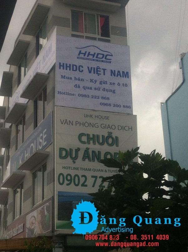 Lắp đặt pano hiflex bảng hiệu hiflex HHDC Thủ Đức