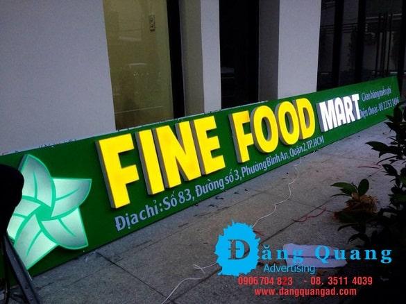 Thi công bảng hiệu alu chữ nổi mica led Fine Food Quận 2 Tp HCM