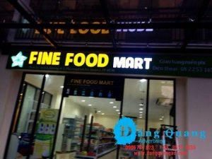 Thi công bảng hiệu alu chữ nổi mica led Fine Food Quận 2